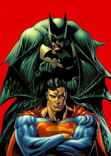 SUPERMAN - WITH BATMAN POSE RED canvas print - self adhesive poster - photo print